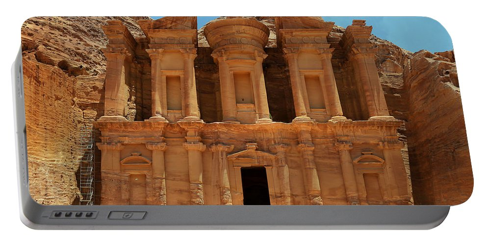 Ad-dayr Portable Battery Charger featuring the photograph The Monastery At Petra by Stephen Stookey
