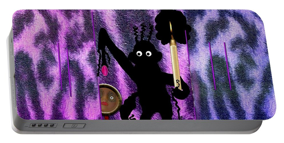 Landscape Portable Battery Charger featuring the mixed media The Monkey Found The Lost Face by Pepita Selles
