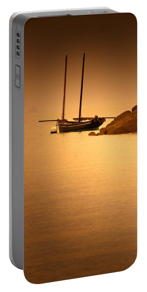 Loriental Portable Battery Charger featuring the photograph The Mont Saint-michel Bay At Sunset by Loriental Photography