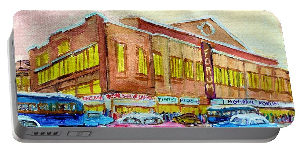 Montreal Portable Battery Charger featuring the painting The Montreal Forum by Carole Spandau