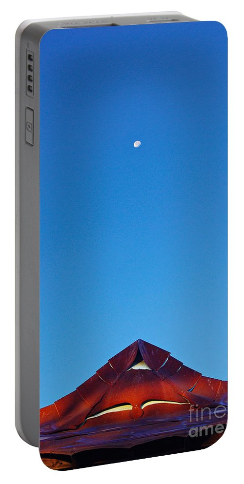 Moon Portable Battery Charger featuring the photograph The Moon The Roof And The Sky by Gary Richards