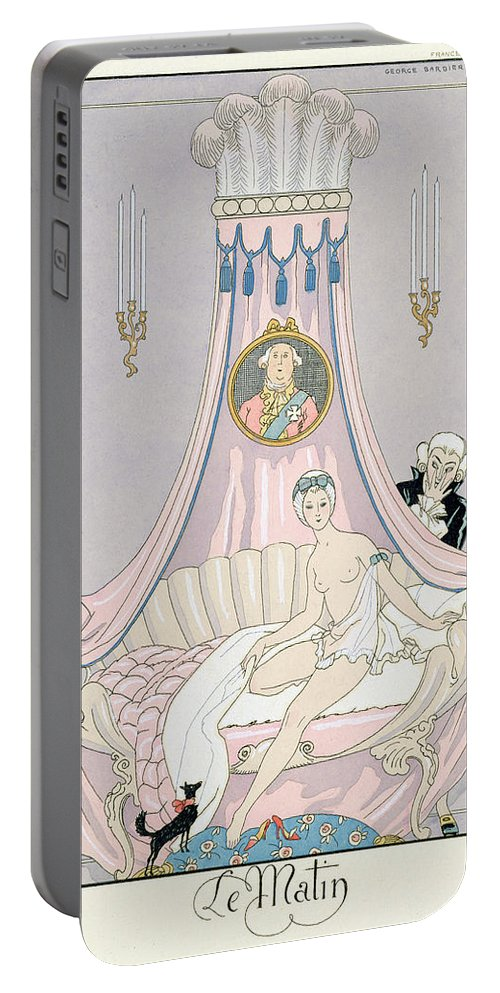 Le Matin Portable Battery Charger featuring the painting The Morning by Georges Barbier