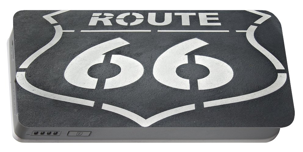 Route Portable Battery Charger featuring the photograph The Mother Road by Ricky Barnard
