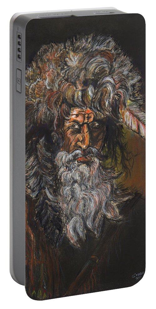 Drawing Portable Battery Charger featuring the drawing The Mountain Man by Chris Steele
