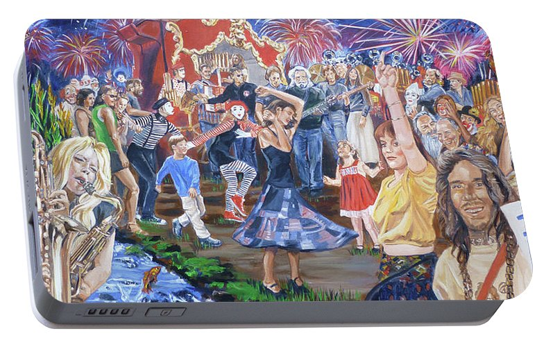 The Grateful Dead Portable Battery Charger featuring the painting The Music Never Stopped by Bryan Bustard