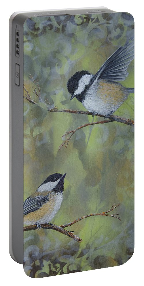 Chickadee Portable Battery Charger featuring the painting The Nature Of Innocence by Dee Carpenter