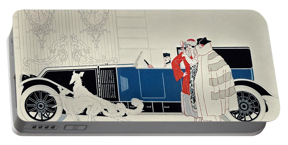 La Nouvelle 6 Cylindres Portable Battery Charger featuring the drawing The New 6 Cylinder Renault, C 1920 by Rene Vincent