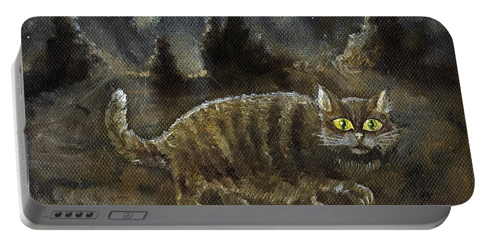 Cat Portable Battery Charger featuring the painting The Night Stalker by Angel Ciesniarska