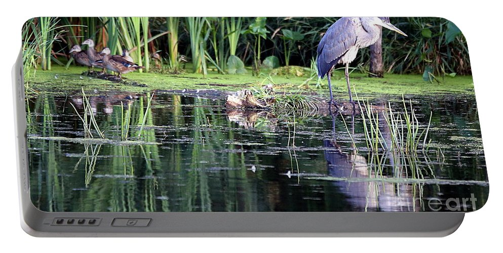 Great Blue Heron Portable Battery Charger featuring the photograph The Night Watch by Elizabeth Winter