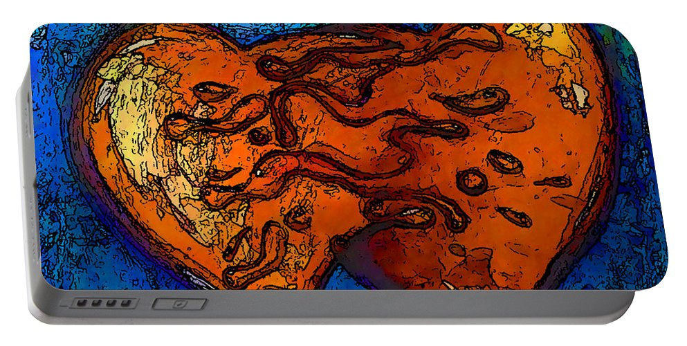 Abstract Portable Battery Charger featuring the painting The No.2 Blending by Marcello Cicchini