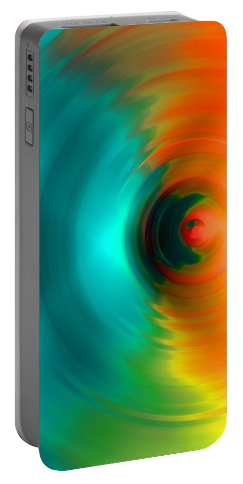 Vortex Portable Battery Charger featuring the digital art The No.2 Colored Hurricane by Marcello Cicchini