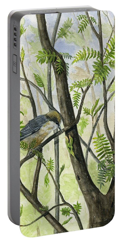 Bird Portable Battery Charger featuring the painting The Nuthatch by Mary Tuomi