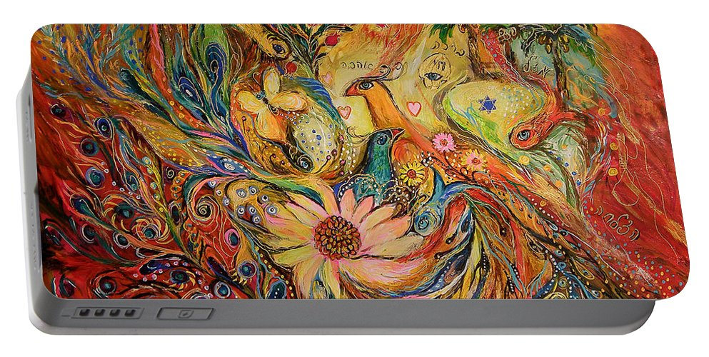 Original Portable Battery Charger featuring the painting The Oasis by Elena Kotliarker