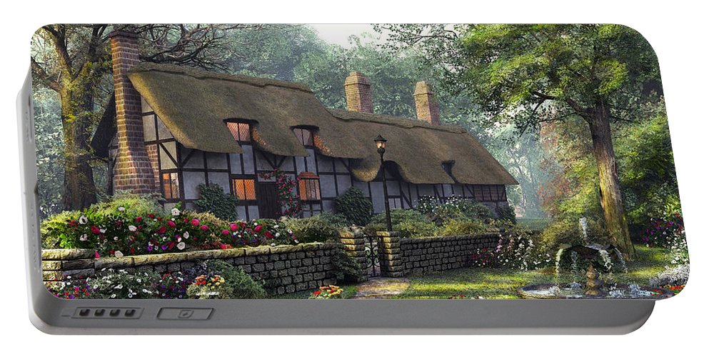 Cottage Portable Battery Charger featuring the digital art The Old Cottage by Dominic Davison