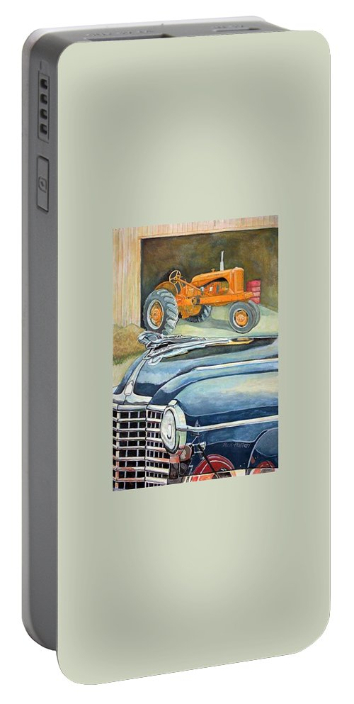 Rick Huotari Portable Battery Charger featuring the painting The Old Farm by Rick Huotari