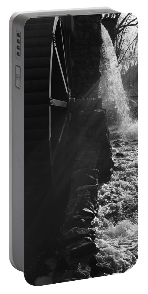 Wayside Inn Portable Battery Charger featuring the photograph The Old Grist Mill - Black And White by Luke Moore