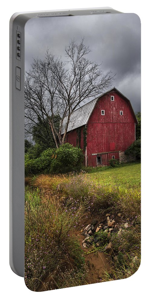 Appalachia Portable Battery Charger featuring the photograph The Old Red Barn by Debra and Dave Vanderlaan