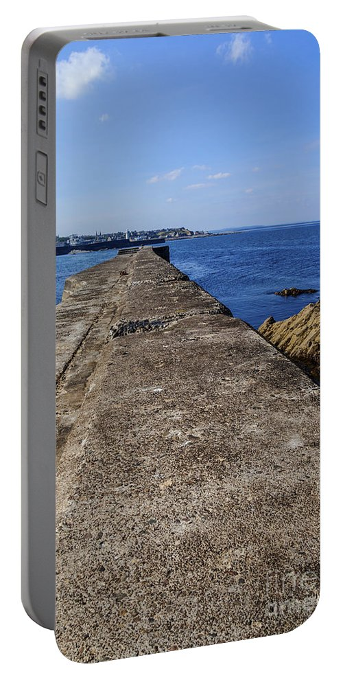 Buckie Portable Battery Charger featuring the photograph The Old Shipyard Pier by Diane Macdonald