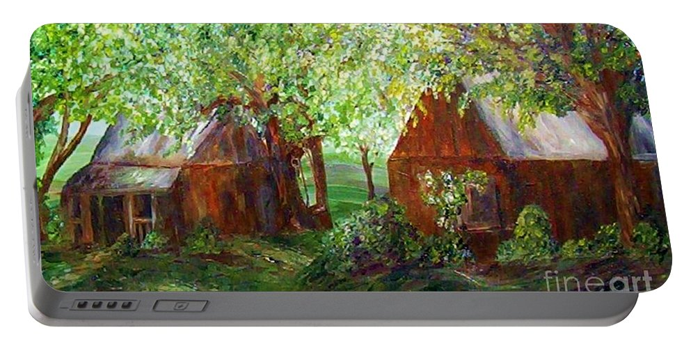 Landscape Portable Battery Charger featuring the painting The Old Swing  by Eloise Schneider Mote
