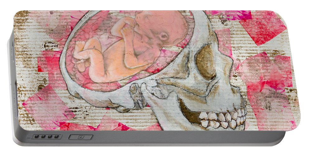 Portable Battery Charger featuring the painting The Origin Of War by Stefanie Forck