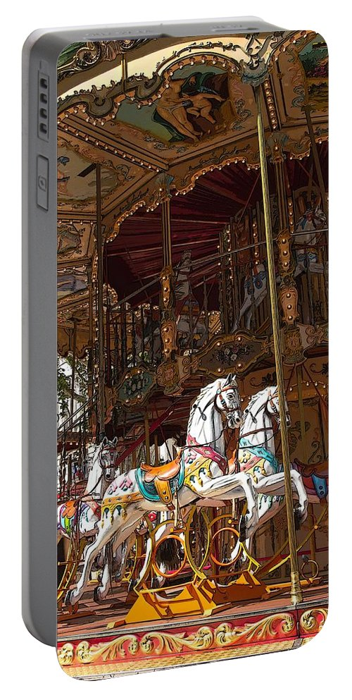 Amuse Portable Battery Charger featuring the digital art The Original French Carousel by Jaroslav Frank