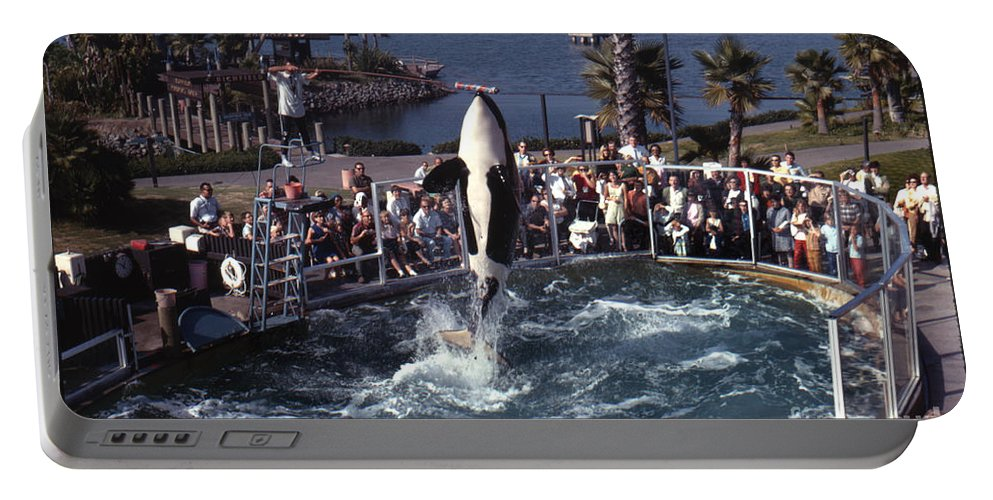 Original Portable Battery Charger featuring the photograph The Original Shamu Orca Sea World San Diego 1967 by California Views Archives Mr Pat Hathaway Archives