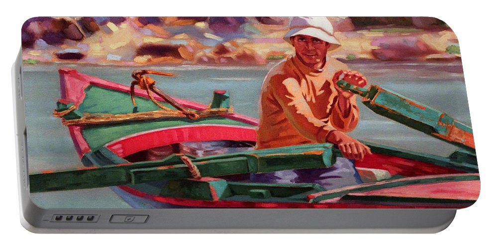 Boat Portable Battery Charger featuring the painting the Other Side by Ahmed Bayomi