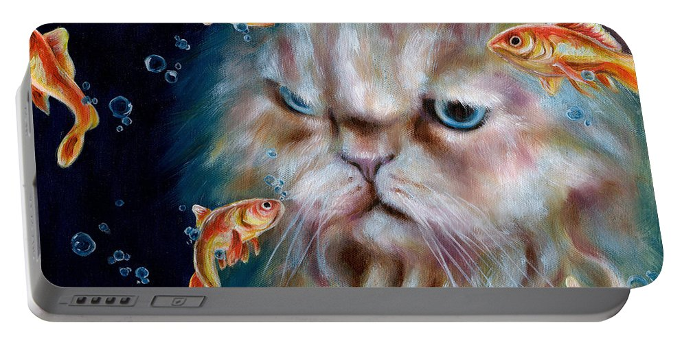 Cat Portable Battery Charger featuring the painting The Other Side Of Midnight by Hiroko Sakai