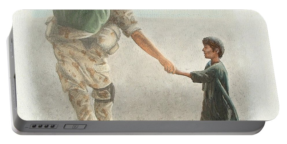 War Portable Battery Charger featuring the painting The Outcome Of War Is In Our Hands by Conor O'Brien