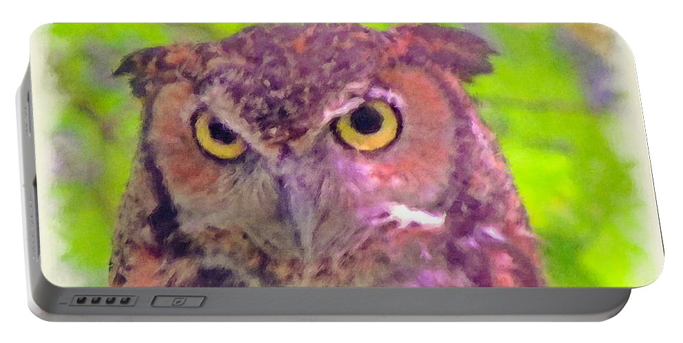 Portrait Portable Battery Charger featuring the digital art The Owl... by Tim Fillingim