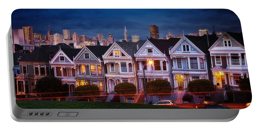 Scenic Portable Battery Charger featuring the photograph The Painted Ladies Of San Francsico by Linda D Lester
