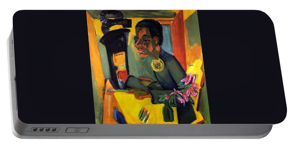 1920 Portable Battery Charger featuring the painting The Painter - Self Portrait by Ernst Ludwig Kirchner