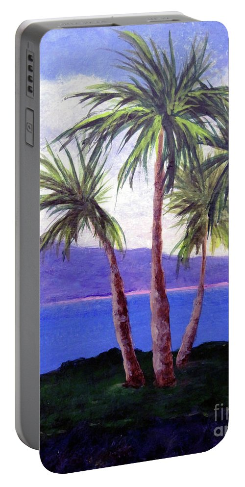 Ocean Portable Battery Charger featuring the painting The Palms by Susan Plenzick