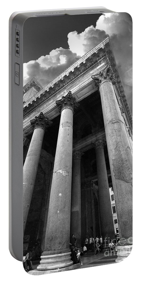 The Pantheon Portable Battery Charger featuring the photograph The Pantheon In Rome Bw by Mike Nellums