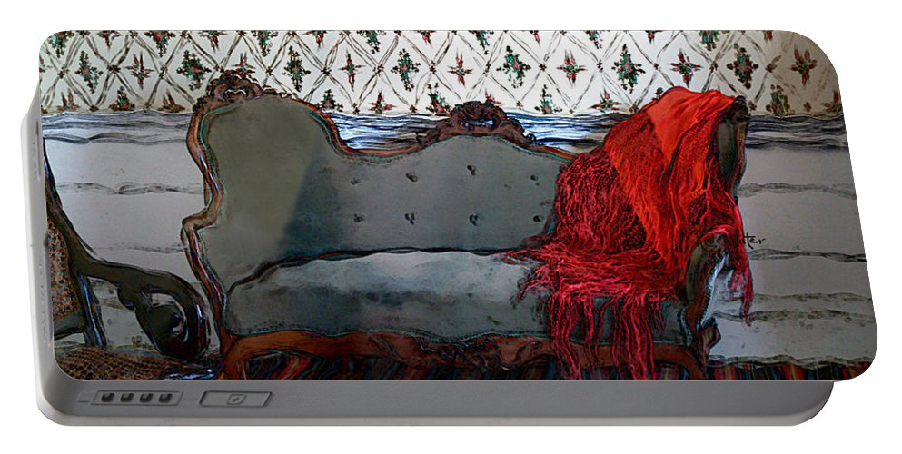 Furniture Portable Battery Charger featuring the painting The Parlor At Chicago Joe's by RC DeWinter