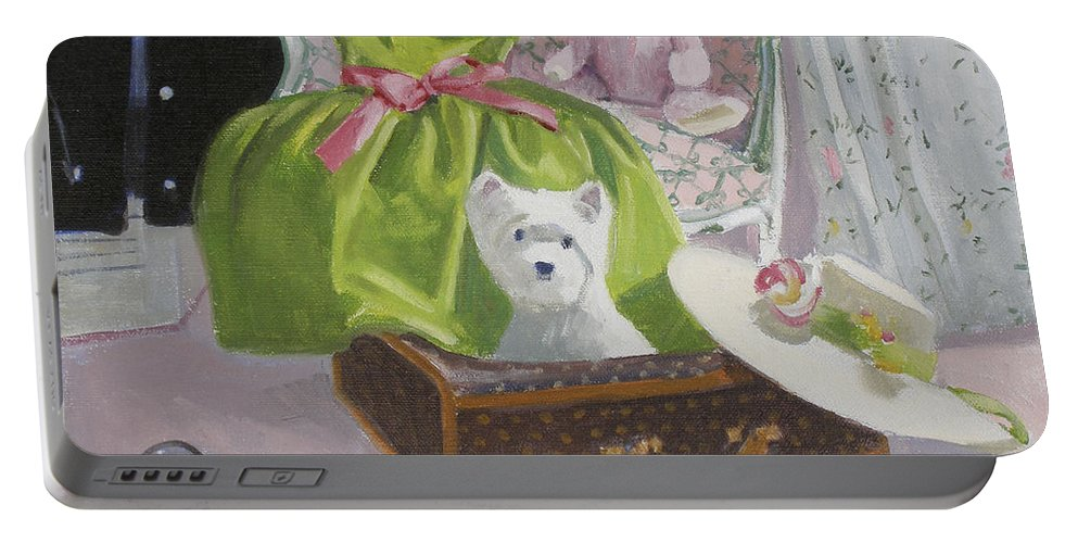 Dog Portable Battery Charger featuring the painting The Party Dress by Candace Lovely