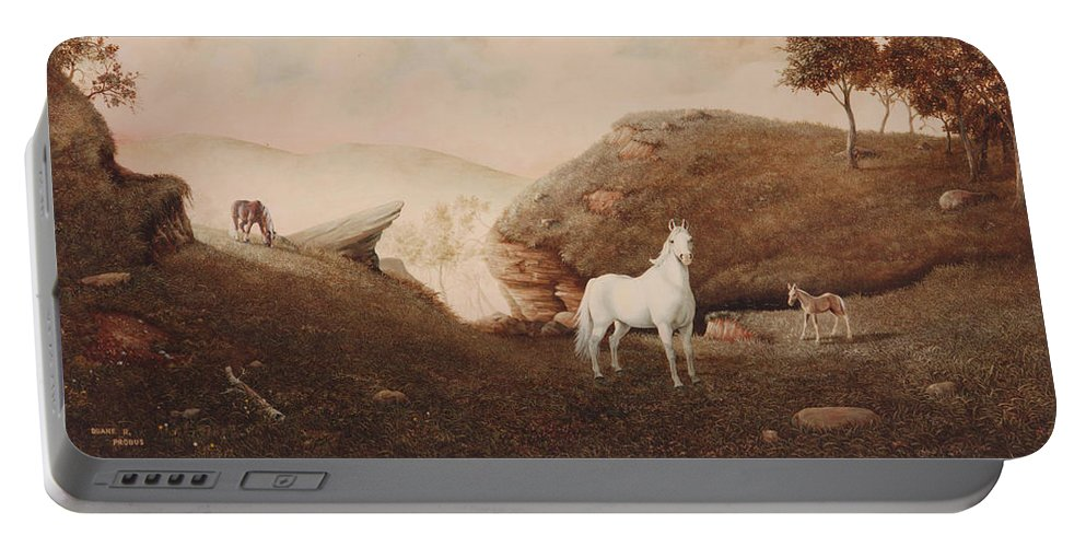 Horse Portable Battery Charger featuring the painting The Patriarch by Duane R Probus