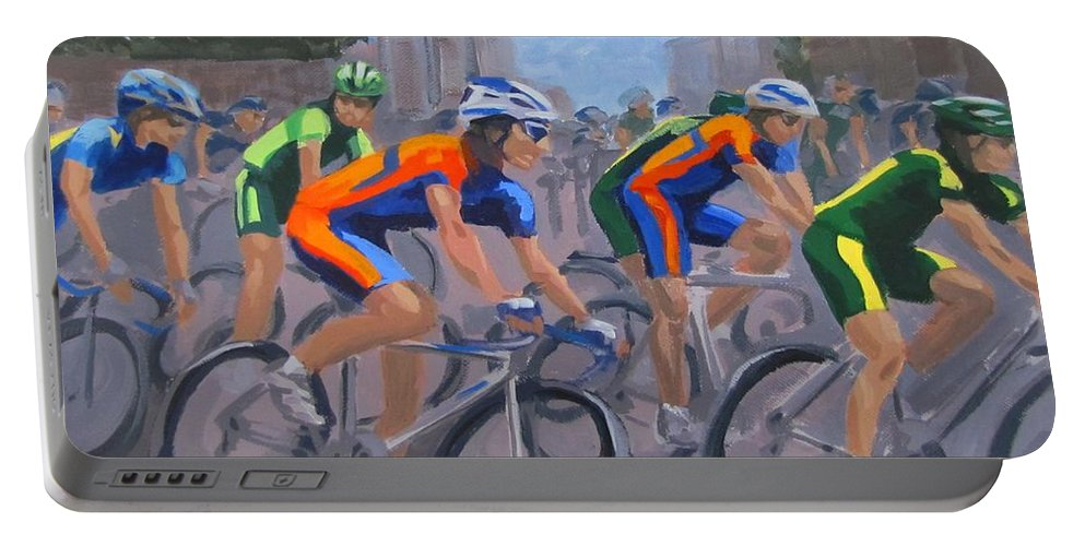 Bicycle Portable Battery Charger featuring the painting The Peloton by Karen Ilari