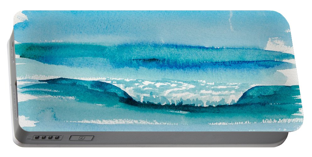 Nature Portable Battery Charger featuring the painting The Perfect Wave by Walt Brodis