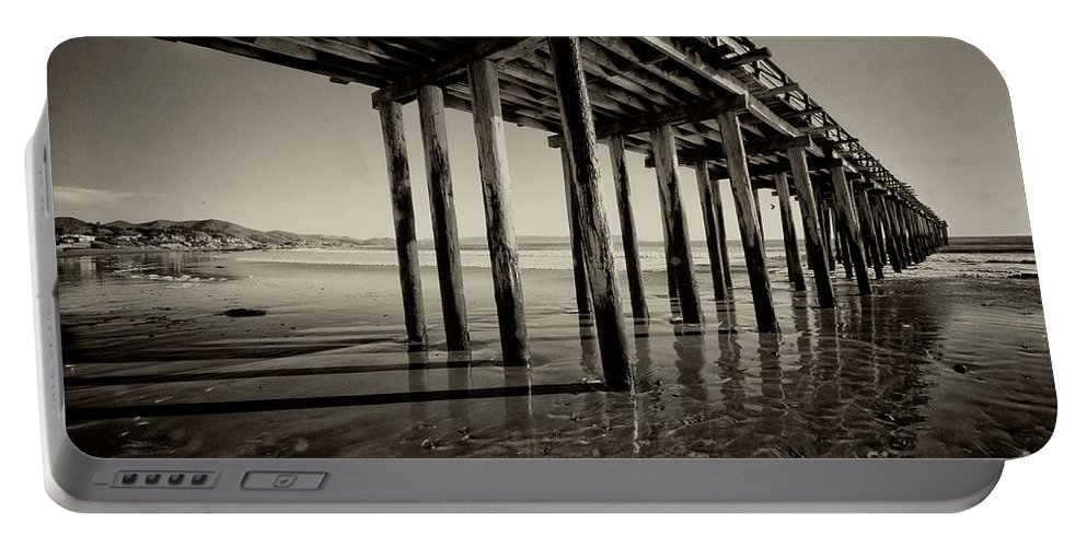 Cayucos California Pier Wood Wooden Beach Pacific Ocean Mono Black And White Sea Seaside Resort Surfing Portable Battery Charger featuring the photograph The Pier At Cayucos by Rob Hawkins