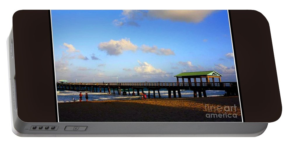 Sand Portable Battery Charger featuring the photograph The Pier At Lauderdale By The Sea by Dora Sofia Caputo Photographic Design and Fine Art