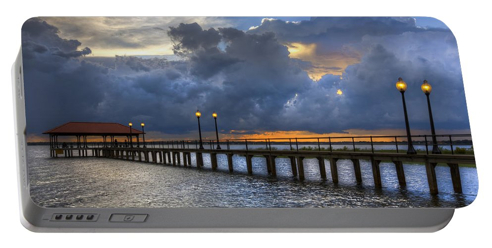 Clouds Portable Battery Charger featuring the photograph The Pier by Debra and Dave Vanderlaan