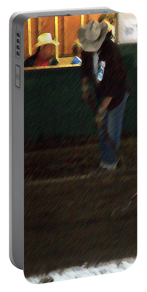 Men Portable Battery Charger featuring the painting The Pit Crew by RC DeWinter