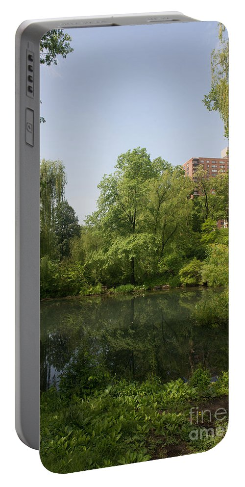 Central Park Portable Battery Charger featuring the digital art The Pool Central Park by Carol Ailles