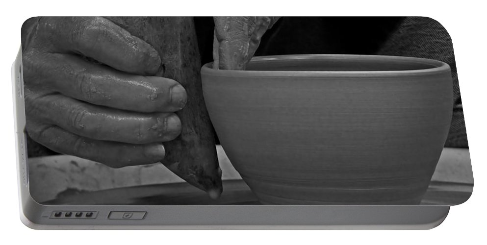 Potter Portable Battery Charger featuring the photograph The Potter's Hands by Lucinda Walter