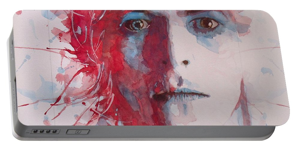 David Bowie Portable Battery Charger featuring the painting The Prettiest Star by Paul Lovering