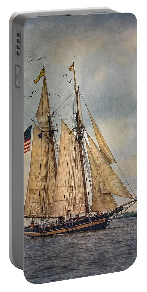 Pride Of Baltimore Ii Portable Battery Charger featuring the digital art The Pride Of Baltimore II by Dale Kincaid