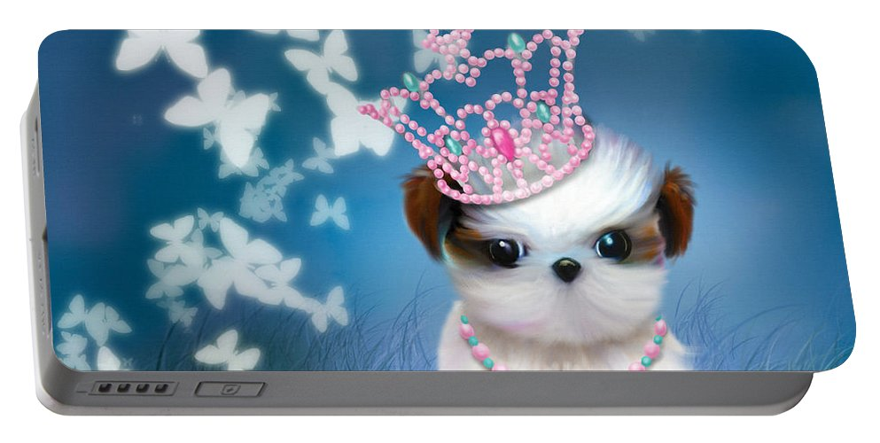 Princess Portable Battery Charger featuring the mixed media The Princess by Catia Lee