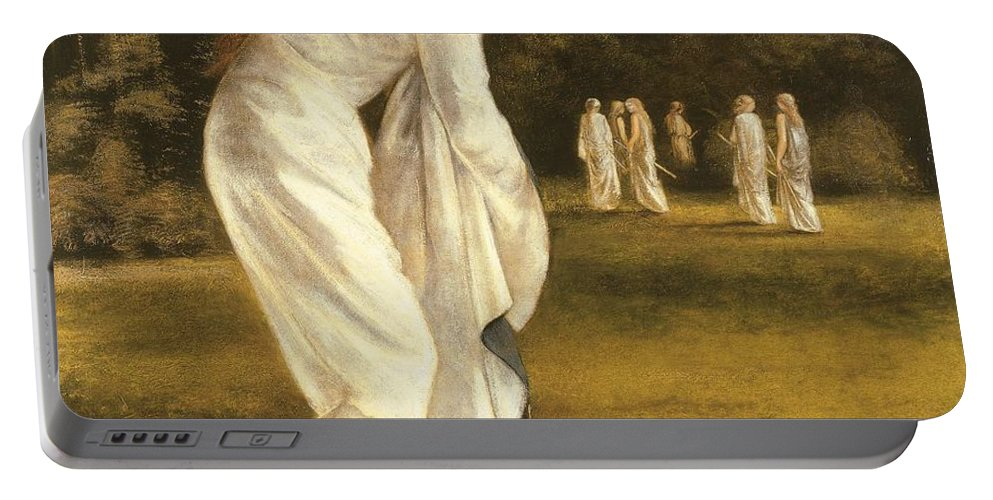 Princess Portable Battery Charger featuring the painting The Princess Tied To A Tree by Sir Edward Coley Burne-Jones