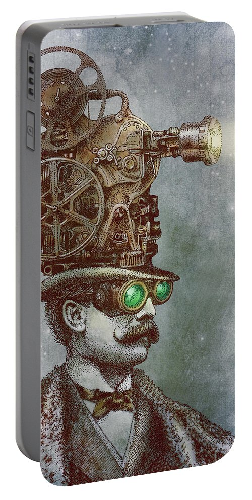 Projector Portable Battery Charger featuring the drawing The Projectionist by Eric Fan